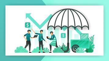 Versicherung für Kleinunternehmen. Versicherungspolicen, die Unternehmen, Eigentümern und Investoren vor Arbeitsunfällen und Geschäftsverlusten helfen und diese garantieren. Vektor-Illustrationskonzept für Zielseitenanzeigen vektor