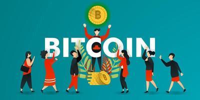 flache Zeichentrickfigur. Vektorillustration für Geschäft, Marketing, Web, Finanzen, Währung. Mann, der glühende Bitcoin hebt und Menschen zeigt. Die Leute interessieren sich und fragen nach Bitcoin