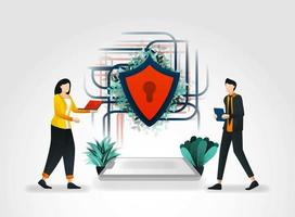 Vektor-Illustrationskonzept. Personen, die auf Daten im Internet zugreifen und die sichere Netzwerkverbindung abschirmen. Die elektronische Sicherheit trägt zum reibungslosen Aufbau der Sicherheits-, Sicherheits- und Sicherheitsbranche bei vektor