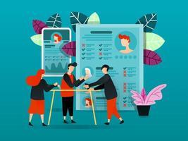 platt seriefigur. vektor illustration för teknik, affärer, affisch. människor som debatterar och diskuterar nya anställda. ansökningsblankett för anställda som kontrolleras och korsas. och nya mobilappar