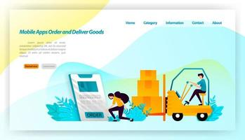 Mobile Apps bestellen und liefern Waren. Die Bestellung von Paketen im Online-Shop erfolgt an Lager und Verbraucher. Transportausrüstung Illustrationskonzept für Landing Page, UI, Website, mobile App vektor
