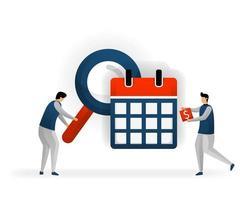 Geschäft und Förderung der Vektorillustration. Bestimmen Sie Schlüsselwörter basierend auf Kalender- und Feiertagsdaten. siehe Tranding, das Verkehr bringt. Maximieren Sie SEO an bestimmten Tagen. SEO-Logo .flacher Charakterstil vektor
