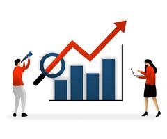 Geschäft und Förderung der Vektorillustration. SEO-Logo, analysieren und suchen Sie nach Schlüsselwörtern und bestimmen Sie Umsatzwachstumsziele, Diagramme mit stabilem und zunehmendem Wachstum vektor