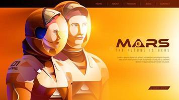 astronauter som står tillsammans och redo för det största uppdraget på mars