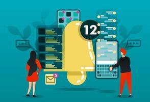 platt seriefigur. vektor illustration för teknik, varningar, meddelanden, varning, schema, meddelande. människor som läser diagram och märker. stor klocka med smartphone-app. nytt chattgränssnitt