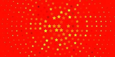 hellorange Vektor-Layout mit hellen Sternen.