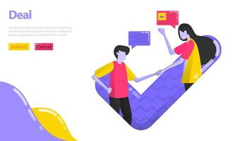 Illustration Deal oder Vereinbarung. Menschen geben sich die Hand und genehmigen Entscheidungen. Menschen, die zustimmen und im Geschäft zusammenarbeiten. Flaches Vektorkonzept für Zielseite, Website, Handy, Apps-Benutzeroberfläche, Banner, Poster vektor