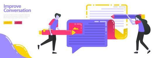 Illustration verbessern die Konversation. Leute, die Meinungen schreiben, können Ballon-Chat. Meinungen und Informationen verbessern und aktualisieren. Flaches Vektorkonzept für Zielseite, Website, Handy, Apps-Benutzeroberfläche, Banner vektor