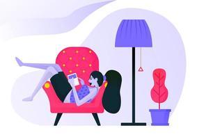 Mädchen, das auf der Couch liegt, während es ein Buch unter einer dekorativen Lampe liest. Frau entspannende Kleidung sexy oder Freizeitkleidung. flaches Vektorillustrationskonzept für Zielseite, Website, Web, mobile Apps, ui ux