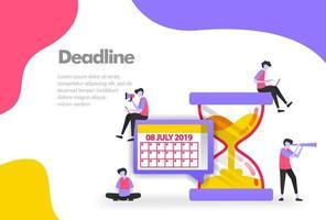 deadline illustration koncept, ordna plan med timglas. modernt platt designkoncept för målsideswebbplats, mobilappar ui ux, banneraffisch, flyerbroschyr, webbutskrift. vektor eps 10