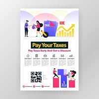 Plakat, das jährliche Steuerzahlung fordert, Steuern pünktlich zahlt und Rabatte mit flacher Vektorkarikaturillustration erhält. Flayer Business Pamphlet Broschüre Magazin Cover Design Layout Platz für a4 Druckgröße vektor
