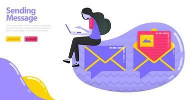Abbildung des Sendens einer Nachricht. Ballon-Chat-Symbol mit Imagemap oder Umschlag. E-Mail öffnen und lesen. Flaches Vektorkonzept für Landing Page, Website, Mobile, Apps UI, UX, Banner, Poster, Flyer, Broschüre
