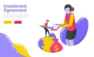 illustration av investeringsavtal. person som undertecknade avtalet med investeringsförvaltaren. investera i pengar och tillgångar. platt vektorkoncept för målsida, webbplats, mobil, appar ui, ux, banner vektor