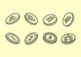 Peso-Münzen umreißen freien Vektor