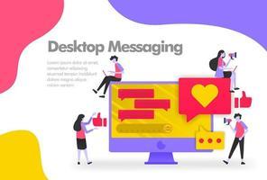 Desktop Messaging Illustration Konzept, senden und empfangen Nachrichten. modernes flaches Designkonzept für Landingpage-Website, mobile Apps ui, Bannerplakat, Flyerbroschüre, Webdruckdokument. Vektor eps 10