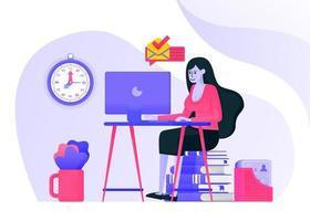 Mädchen arbeitet, indem es auf einem Stapel Bücher sitzt und E-Mail auf dem Computerbildschirm liest. Frauen arbeiten in sexy oder Freizeitkleidung. flaches Vektorillustrationskonzept für Zielseite, Website, Handy