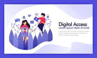 Zugriff auf digitale Daten und soziale Medien. Service Access-Verbindungsleitung von vielen Plattformen in die Verwendung und den Verlauf von Sicherheitsdaten. vektorillustration für website, landing page, mobile wallpaper, ui ux