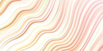 hellrosa, gelber Vektorhintergrund mit gebogenen Linien.