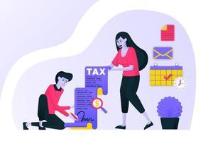 Paar unterschreibt und füllt die Steuerpflicht pünktlich aus. Befolgen Sie das jährliche Steuerformular der Regierung, um Geldbußen zu vermeiden. flaches Vektorillustrationskonzept für Zielseite, Website, Handy vektor