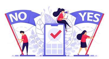 Menschen fliegen Flagge, um Ja oder Nein zu wählen, um Feedback zu geben. Online-Abfrage mobiler Apps, um zu entscheiden, ob Sie einem Problem zustimmen oder nicht. Vektorillustration für Web, Landing Page, Banner, mobile Apps vektor