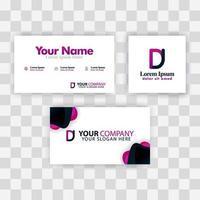 sauberes Visitenkartenvorlagenkonzept. Vektor lila modern kreativ. JD Letter Logo minimaler Gradient Corporate. dj firmen luxus logo hintergrund. Logo d für Druck, Marketing, Identität, Identifikation