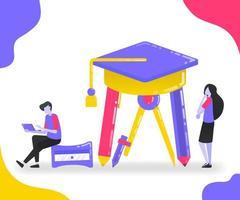illustration av brevpapper och examenshatt. studenter som studerar och uppmärksammar utbildning bland brevpapper. platt vektorkoncept för målsida, webbplats, mobil, apps ui, banner, affisch, flygblad