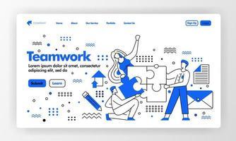 Teamwork-Vektor-Design für Business-Landingpage-Website mit flacher Cartoon-Illustration. Leute beenden und lösen Puzzel. finde eine Lösung. kann für Landing Page, Website, UIux, Web, Mobile App verwendet werden vektor