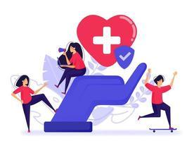 Menschen fühlen sich glücklich, weil sie bereits eine Kranken- und Lebensversicherung haben. Registrieren Sie eine gute und vertrauenswürdige Versicherung bei den besten medizinischen Einrichtungen. Vektorillustration für Web, Landing Page, Banner, mobile Apps vektor