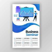 Geschäftsseminar-Entwurfskonzeptplakat mit flacher Karikaturillustration. Flyer Business Pamphlet Broschüre Magazin Cover Design Layout Raum für Werbung und Marketing, Vektordruckvorlage a4 Größe vektor