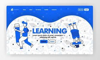 Landing Page für Lernen und Bildung in Linienart und Cartoon Flat Illustration. Mädchen las und hielt Bleistift mit stationärem Hintergrundmuster. kann für website, ui ux, web, mobile app, poster vektor