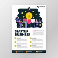 Geschäftsplakat für Startup-Technologiebranchen. auf der Suche nach Ideen mit auf Lampe sitzen. Vektor-Illustrationskonzept für Web, Website, Landing Page, mobile Apps, Broschüre, Poster, Magazin-Cover. vektor
