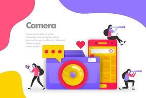 Kamerafotografie und das Teilen von Bildern Illustrationskonzept. modernes flaches Designkonzept für Zielseitenwebsite, mobile Apps ui ux, Bannerplakat, Flyerbroschüre, Anzeigen von Webdruckdokumenten. Vektor eps 10