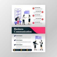 Plakat für Kommunikation in Wirtschaft, Seminar und Geschäftsmotivation. Marketing und Teamwork. Vektor-Illustrationskonzept für Web, Website, Landing Page, mobile App, Broschüre, Poster, Magazin-Cover. vektor