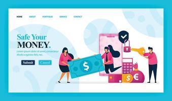 målsidesvektordesign för säkra dina pengar. lätt att redigera och anpassa. modernt platt designkoncept av webbsida, webbplats, hemsida, mobilappar, ui. karaktär tecknad illustration platt stil.