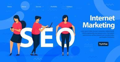 SEO für Internet Marketing Landing Page Template Design. Optimieren Sie die Website, um besseren Traffic zu erzielen und ein besseres Keyword für Ihre Inhalte zu finden. Vektorillustration für Web, Landing Page, Banner, mobile Apps vektor