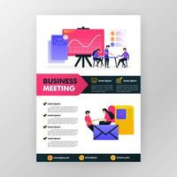 Geschäftstreffenplakat mit flacher Karikaturillustration. Flayer Business Pamphlet Broschüre Magazin Cover Design Layout Raum für Werbung, Promotion und Marketing, Vektordruckvorlage in a4 Größe vektor