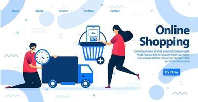 Online-Shopping oder E-Commerce-Landingpage. Kaufen Sie mit mobilen Apps ein und erhalten Sie kostenlosen und schnellen Versand mit Logistikservice in unserem Shop. Vektorillustration für Web, Landing Page, Banner, mobile Apps vektor