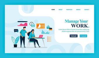 målsidesvektordesign för att hantera ditt arbete. lätt att redigera och anpassa. modernt platt designkoncept av webbsida, webbplats, hemsida, mobilappar, ui. karaktär tecknad illustration platt stil. vektor