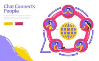 Illustration des Chats verbindet Menschen. Tritt der sozialen Gemeinschaft bei. Menschen sind in einem Kreis konzentriert. soziales Netzwerk in der Wirtschaft. Flaches Vektorkonzept für Landing Page, Website, Mobile, Apps UI, UX, Banner vektor