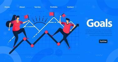 Website- und Landingpage-Vorlage für Unternehmen. Motivation, höhere Ziele zu erreichen und eine Steigerung der Unternehmensfinanzierung zu erreichen. Vektorillustration für Web, Landing Page, Banner, mobile Apps vektor