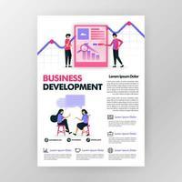 Geschäftsentwicklungsplakat mit flacher Karikaturillustration. Flayer Business Pamphlet Broschüre Magazin Cover Design Layout Raum für Ankündigung, Werbung und Marketing, Vektordruckvorlage in a4 vektor