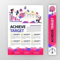 affärsaffisch om att uppnå och planera företagsmål med platt tecknad illustration. flyer affärspamflet broschyr tidningsomslag design layout utrymme för mall för vektortryck i A4-storlek