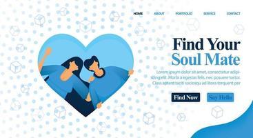 webbplats för matchmaker, vän och planera ditt bröllop. hitta din själsfrände och perfekta partner här för ditt bröllop och engagemang. vektorillustration för webb, målsida, banner, mobilappar, kort vektor