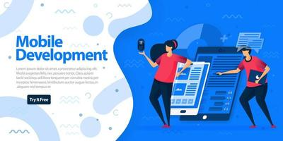 Websites für Apps für die mobile Entwicklung und Zielseitenvorlage. Machen Sie mobile Apps reaktionsschneller und auf allen Geräten leichter zugänglich. Vektorillustration für Web, Landing Page, Banner, mobile Apps vektor