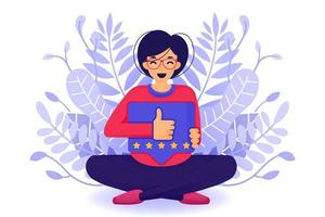 Kerl gibt Likes und positive Bewertungen mit einem Hand Daumen hoch Symbol und Benachrichtigung. Fünf-Sterne-Service Produkt Rate Empfehlung Empfehlung und Kunden genehmigen. Vektorillustration für Web-Landingpage vektor