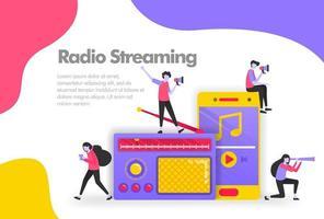 Radio Podcast Illustration Konzept, hören Sie alte Musik mit einem mobilen Player. modernes flaches Designkonzept für Landingpage-Website, mobile Apps-Benutzeroberfläche, Banner, Flyer-Broschüre, Webdruckdokument. Vektor eps 10