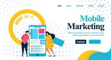 Optimierung der Werbekosten und des Layouts mithilfe von Mobile Marketing, um Gewinn zu erzielen. Beratung für Werbung und Marketing, um bessere Keywords zu finden. Vektorillustration für Web, Landing Page, Banner, mobile Apps vektor