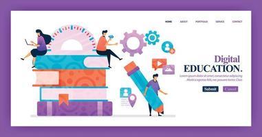 Landingpage-Vektor-Design der digitalen Bildung. einfach zu bearbeiten und anzupassen. modernes flaches Designkonzept von Webseite, Website, Homepage, mobilen Apps. Charakter Cartoon Illustration flachen Stil. vektor