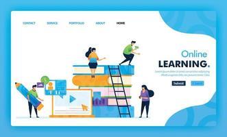 Landingpage-Illustrationskonzept zurück zur Schule des Online-Lernens. Studienausbildung für Marketing- und Promotion-Design kann für Website, Web, UI-Apps, Flyer, Poster, Mobile-App, Broschüre verwendet werden