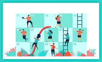 Vektordesign von Schlangen und Leiter in Zusammenarbeit und Teamarbeit. Herausforderungen im Geschäft. Spielerbeiträge Teamwork, um Hindernisse im Schlangen- und Leiterspiel zu überwinden. Management in Quiz und Spiel vektor